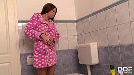 Horny brunette Claire gives the repairman the ultimate blowjob on her knees