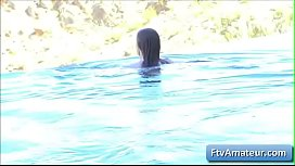 Young cutie girl Fiona take a swim in her pool and play with her perky nipples