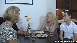Family threesome with blonde mom and teen