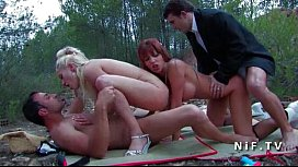 FFMM Two horny babes banged hard in groupsex outdoor