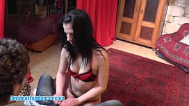 Teen with small titts lapdances for horny guy