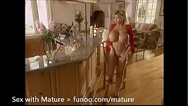Blonde Mature with Big Boobs in Red Lingerie Stripping and Masturbating Pandora Peaks