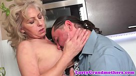 Grandma jizzed on hairypussy...