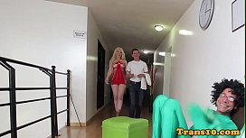 Tgirl spitorasted in interracial...