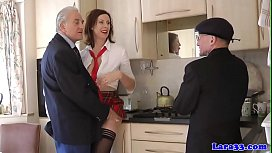 Uk mature fucked by two old codgers