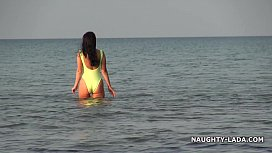 Transparent swimsuit and nude...