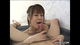 Slutty Asian sucking and titty fucking the dude'_s hot cock