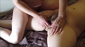 Stuffing Hairy Pussy with Monster Dildo