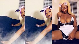 Ebony maid house cleaning in thong
