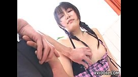 Deepthroating the fat dick with her innocent mouth