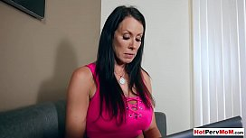 Gorgeous stepmom gives handjob and  blowjob to stepson