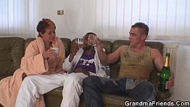 Old grandmother interracial double penetration