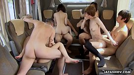 A crazy bus group fuck with slim teen Asian babes