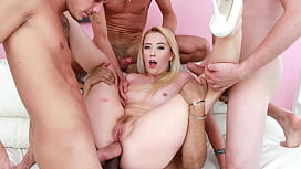 Triple Cock Sucker Samantha Rone Destroyed in Rough Double Anal