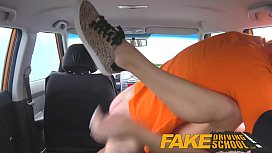 Fake Driving School squirting big tits milf gets creampie in her gaping pussy