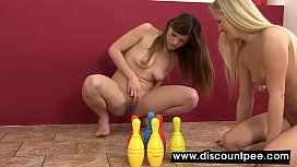 Gorgeous lesbians piss and...