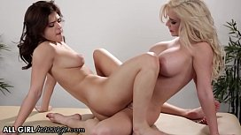 AllGirlMassage Leah Gotti Gets A Scissoring Pussy Massage From A Hot Blonde With Big Tits
