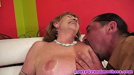 Hairy grandma fucks in...
