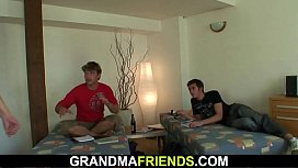 Two friends fuck very old granny
