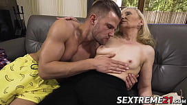 Nympho granny seduces young stud and eats his warm cum