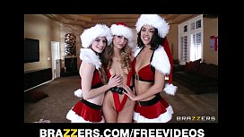 Three teen brunettes share...