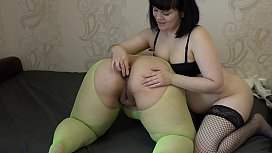 Girlfriend fuck my big ass with different sex toys and licks a fat pussy, passionate lesbians.