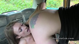 Hot lesbians rimming and licking in fake cab