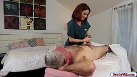 Sexy masseuse fucks old man and squirts