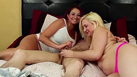 Stepmom Gives a Double Handjob to Son