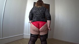 Lesbian with a strapon fucked a fat girlfriend in stockings. Hairy PAWG shaking Doggystyle. POV close up. Homemade fetish.