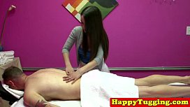 Real asian masseuse jerking...