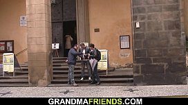 Two dudes film xxx movie with old hairy granny