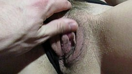 Cumming together. Big clit hairy pussy orgasm and handjob with cum on pussy