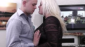 He bangs chubby blonde at work