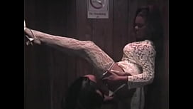 Hot ebony bride in white dress Janet Jacme sucks hard black cock in the elevator