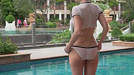 I wear see-through bikini in the hotel swimming pool xvideos preview