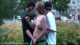 Teens PUBLIC threesome sex...