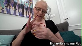 Gran in glasses gets banged and creampied