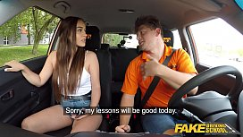 Fake Driving School Beautiful babe Ginebra Bellucci first driving lesson