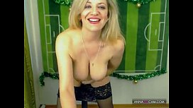 Blonde Russian masturbating on...