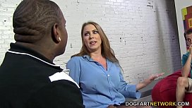 Desiree De Luca takes black cock in front of her s.