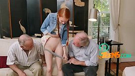 Epic redhead babe rides on a nice mature cock