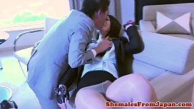 Leather lingerie ladyboy gives...