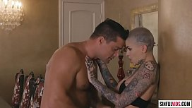 Sexual possessed on Leigh Raven'_s short hair, split tongue and tattoos
