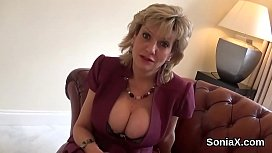 Unfaithful english milf lady sonia displays her heavy breasts