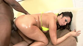Oiled MILF loves Big black cock deep in her pussy
