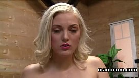 Seducing blonde stripping and...