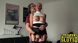 Mature British lady dominated over and fed with cum