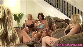 Glam lesbians strapon assfuck in kitchen