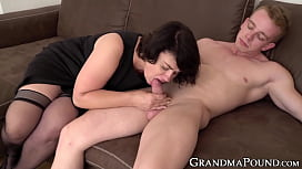 Lusty mature lady sucking younger dick after being fingered